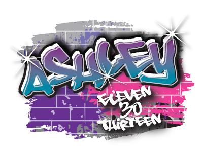 Ashley's urban themed Bat Mitzvah logo